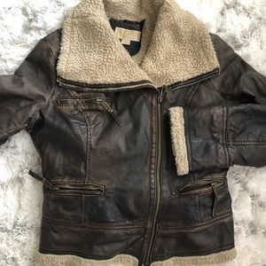 Michael Kors Leather and (faux) Shearling Bomber